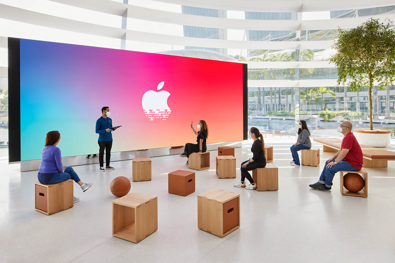 Forum en Video Wall van Apple Marina Bay Sands in Singapore