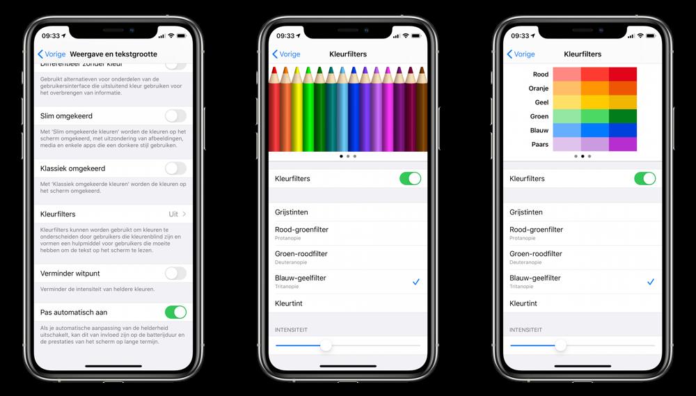 Kleurfilters: verzadigde kleuren op je iPhone instellen.
