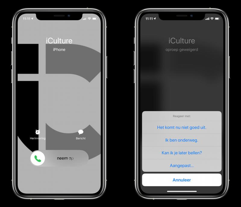 Bericht versturen bij telefoongesprek via sms of iMessage.