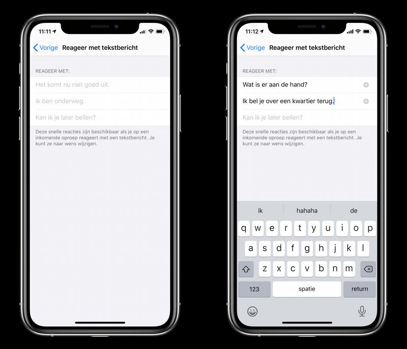 Reageer met tekstbericht bij het bellen: berichten aanpassen.