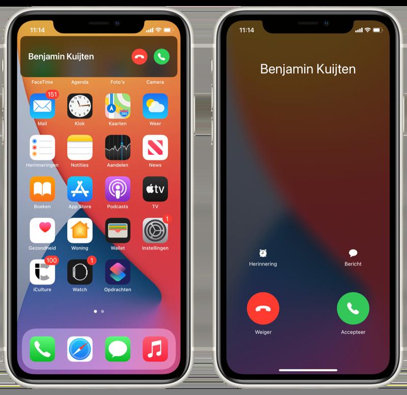 In iOS 14 antwoorden met een bericht als je gebeld wordt.