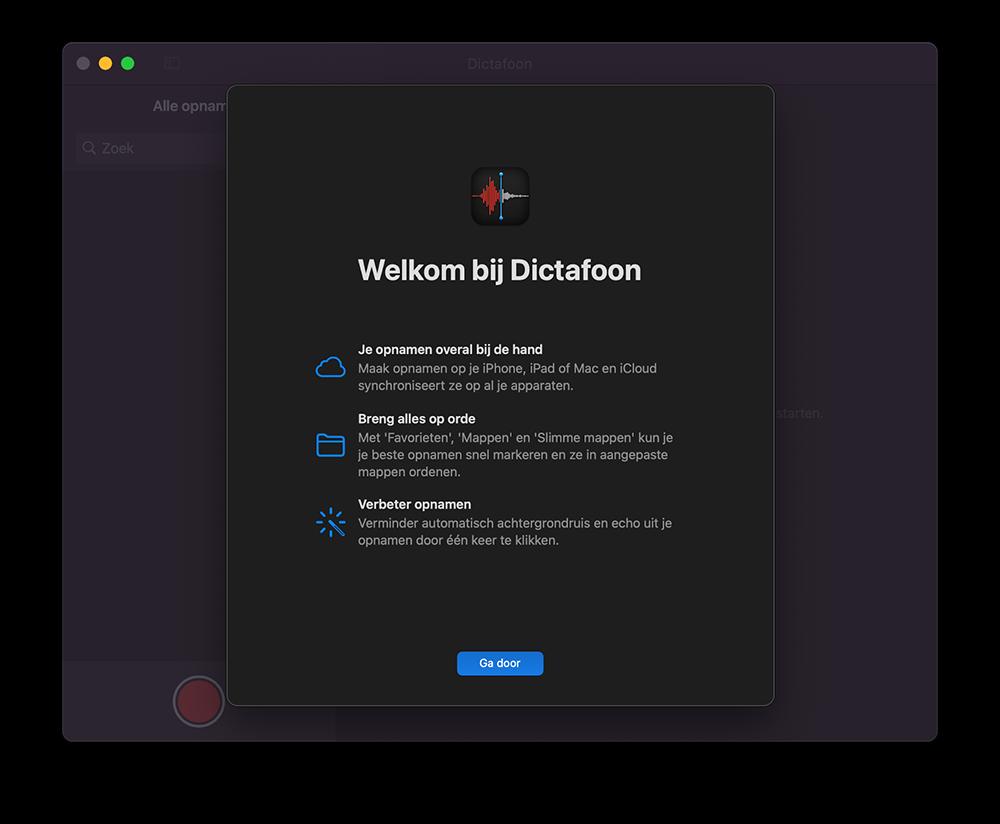 Welkom bij Dictafoon op de Mac