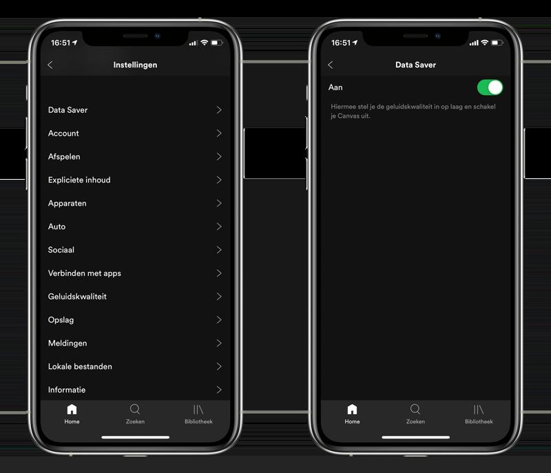 Spotify data besparen met de Datasaver.
