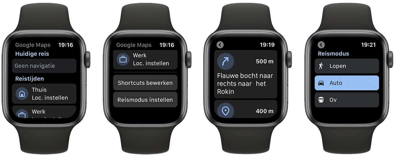 Google Maps op Apple Watch