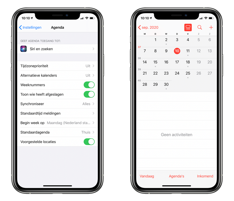 Weeknummers in iPhone agenda tonen.