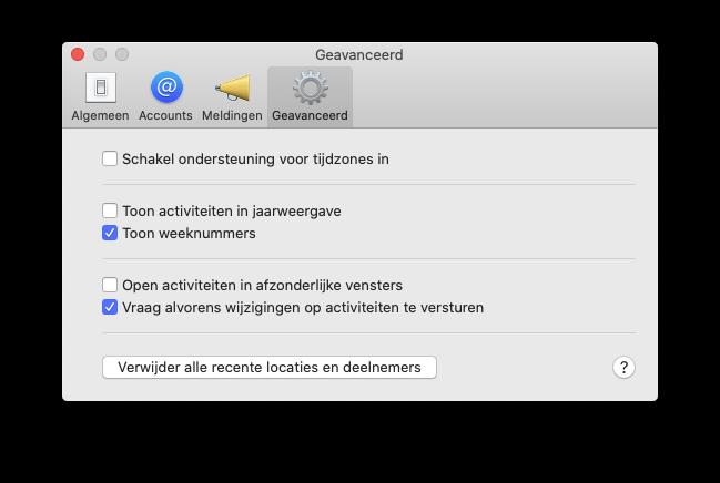 Weeknummers in Agenda op de Mac.
