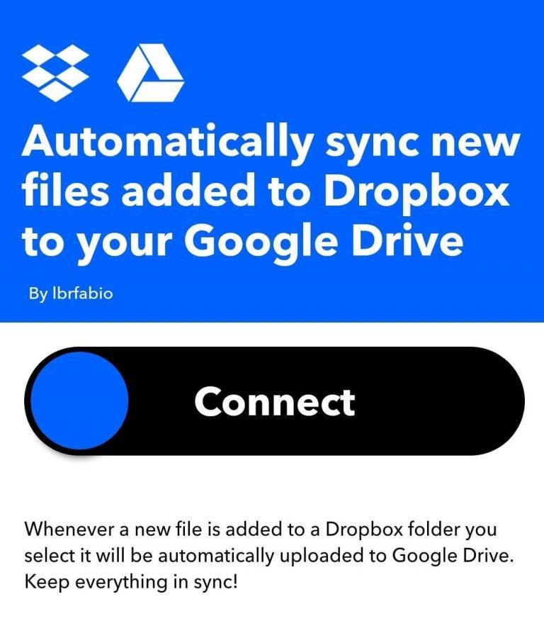IFTTT Synchroniseer Dropbox met Google Drive