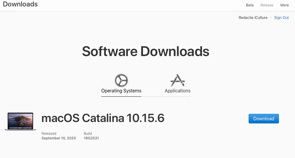 macOS Catalina 10.15.6 aanvullende update september 2020.