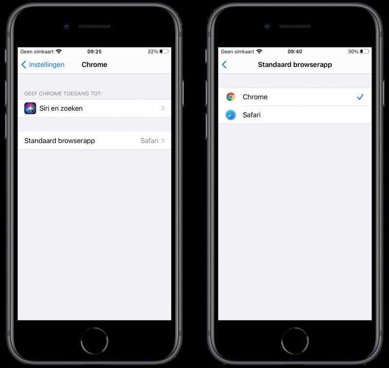 Google Chrome als standaardbrowser instellen op iPhone.