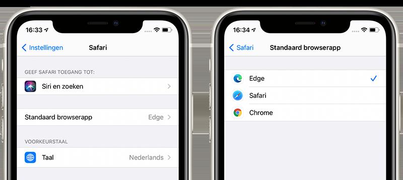 Standaardbrowser iPhone