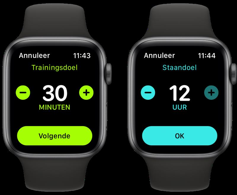 watchOS 7: trainingsdoel en staandoel wijzigen op Apple Watch.
