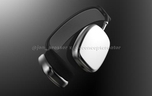 AirPods Studio design: render met oorschelpen.