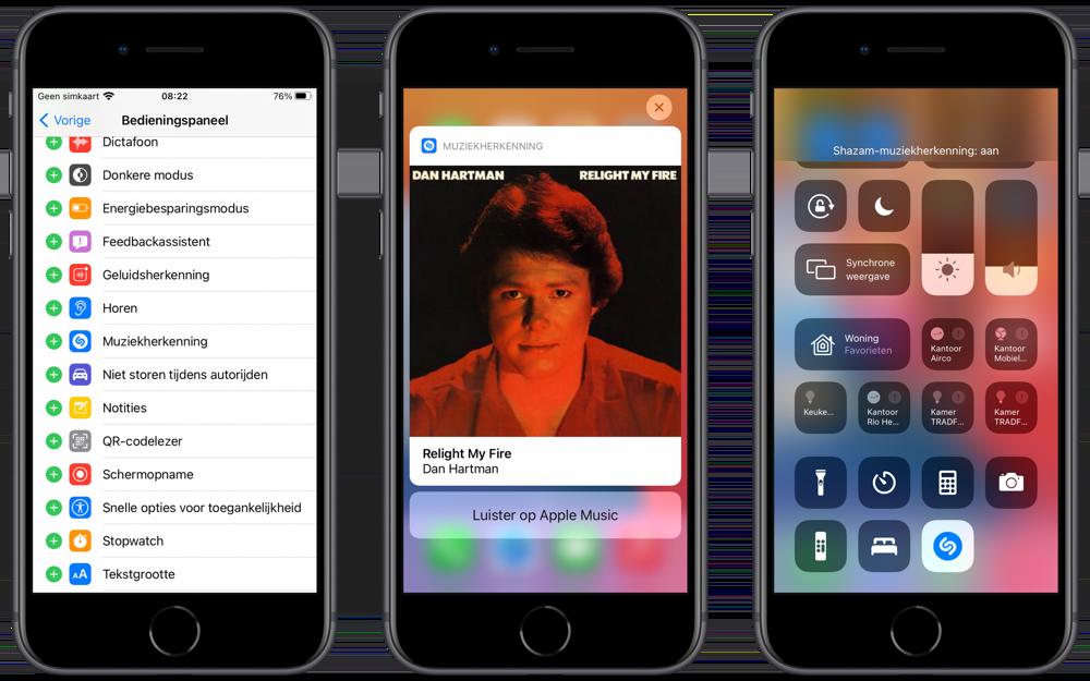 Muziekherkenning met Shazam in Bedieningspaneel van iOS 14.2.
