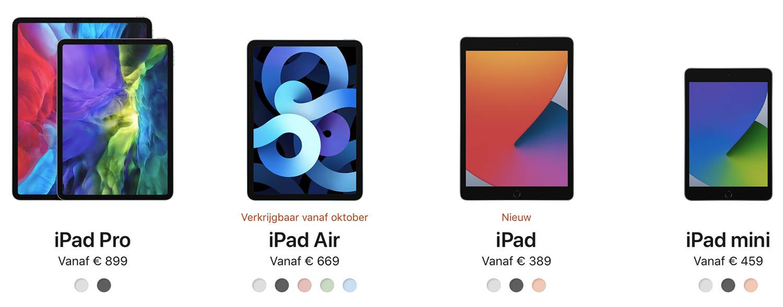 iPad modellen 2020