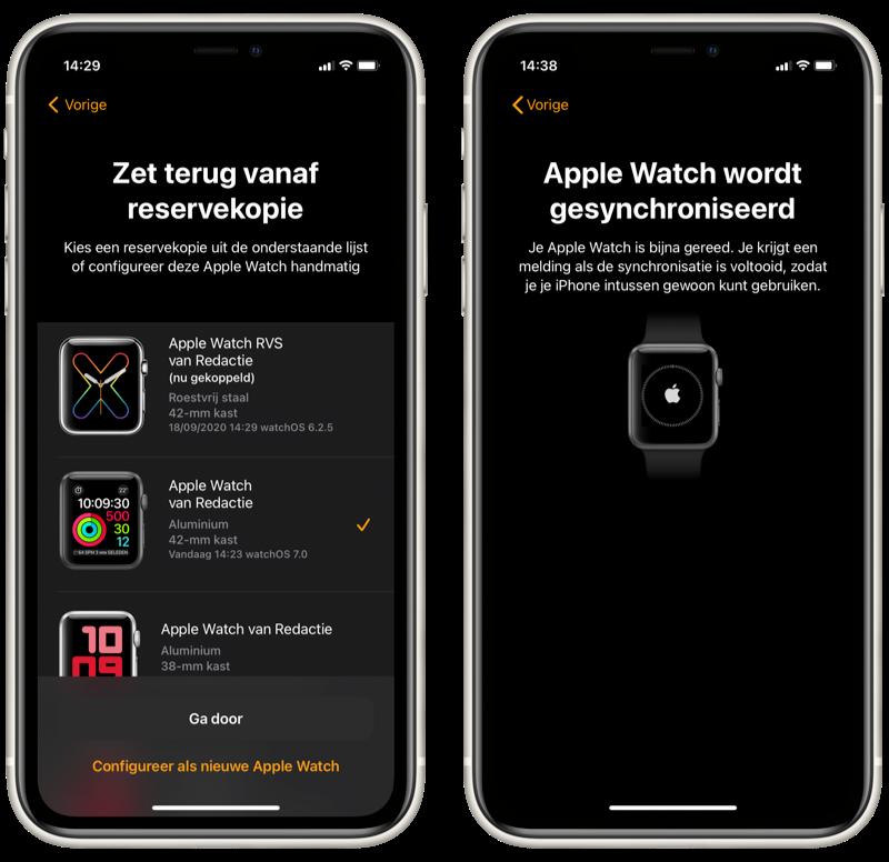 Apple Watch koppelen met een backup.