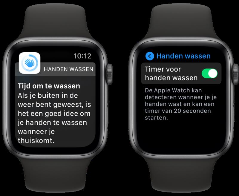 watchOS 7 Apple Watch met handen wassen.