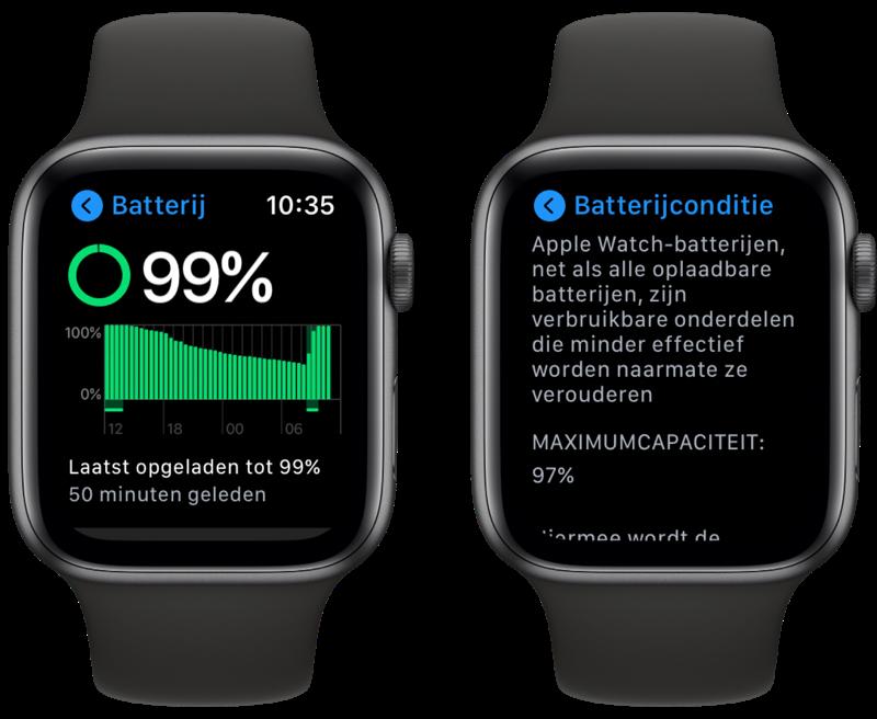 watchOS 7 batterijgrafiek op Apple Watch.