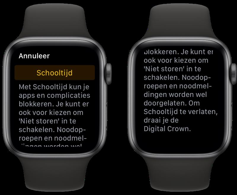 Schooltijd uitleg op de Apple Watch.