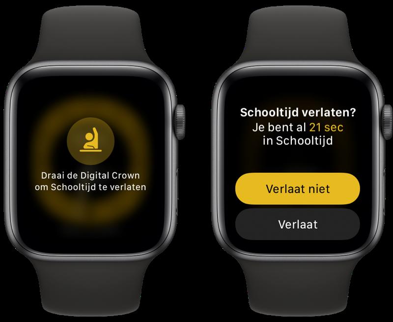 Schooltijd op de Apple Watch verlaten.