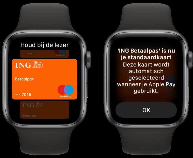 Apple Watch volgorde Apple Pay kaarten wijzigen.