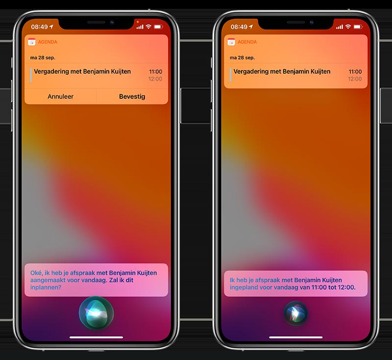Activiteit inplannen met Siri
