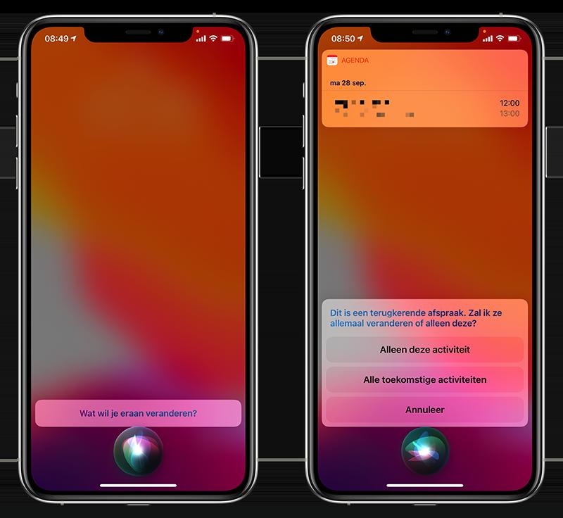 Siri afspraak verplaatsen