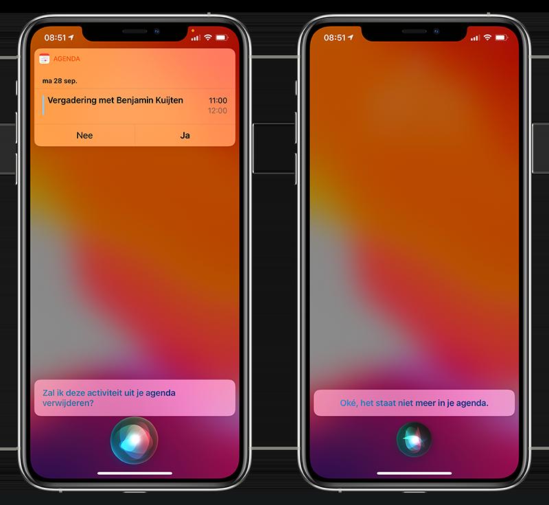 Afspraak verwijderen met Siri