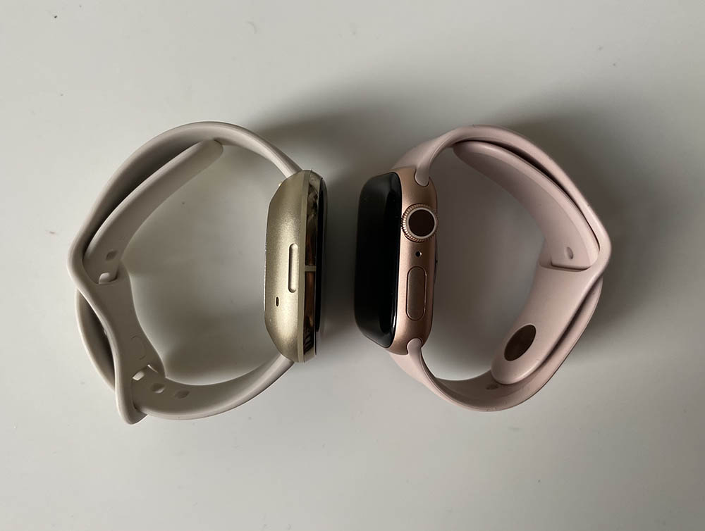 Apple Watch vs Fitbit Sense: zijkant