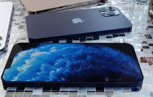 iPhone 12 Pro render in blauw met scherm en achterkant.