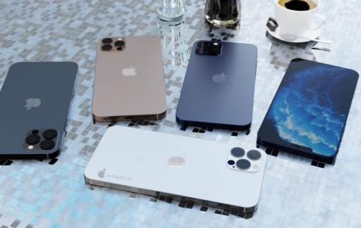 iPhone 12 Pro render in verschillende kleuren.
