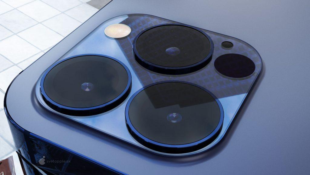 iPhone 12 Pro render in blauw met camera en lenzen.