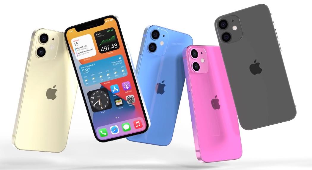 Renders van iPhone 12 mini in verschillende kleuren, waaronder felroze.