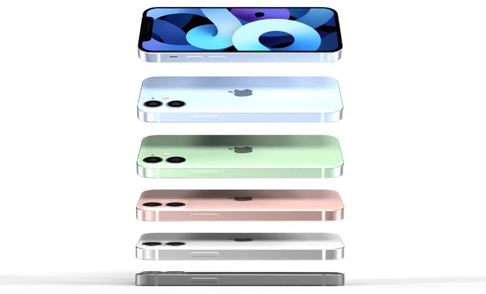 Renders van iPhone 12 mini kleuren.