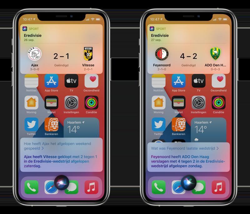 Uitslag van voetbal via Siri.
