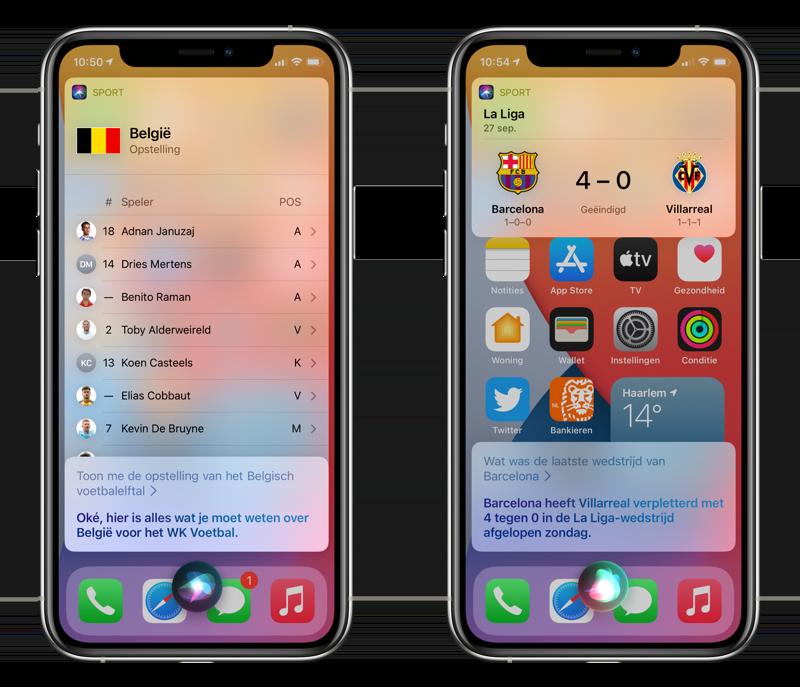 Voetbal selectie en info over buitenland via Siri.