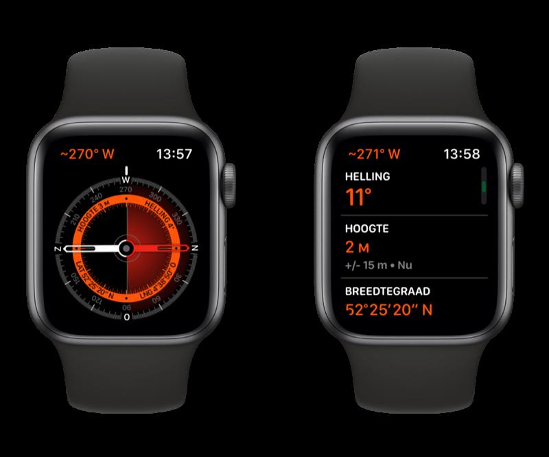 Apple Watch kompas en hoogtemeter.