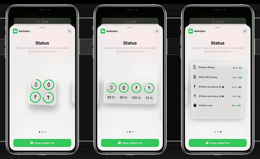 Batterijwidget voor iOS: 3 formaten