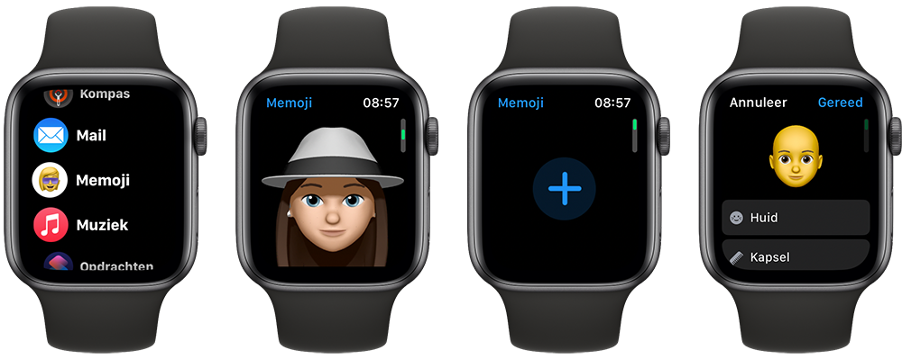 Memoji op Apple Watch bekijken en maken
