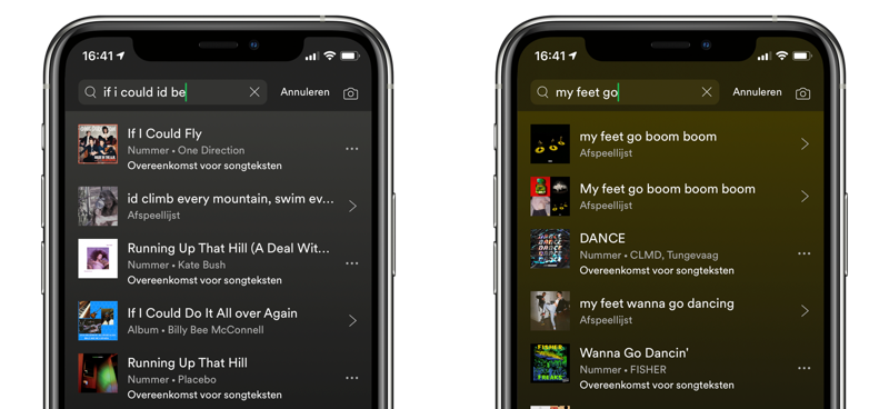 Spotify: zoeken naar nummers met songteksten.