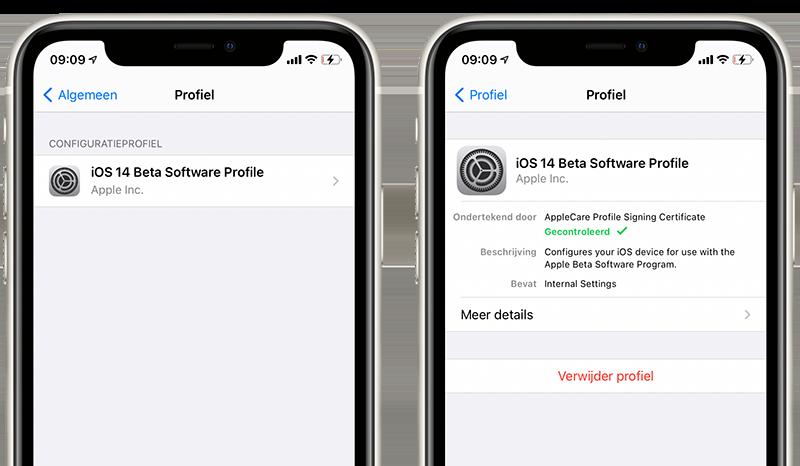 iPhone betaprofiel verwijderen