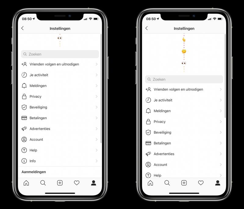 Verborgen menu voor Instagram appicoontje aanpassen.