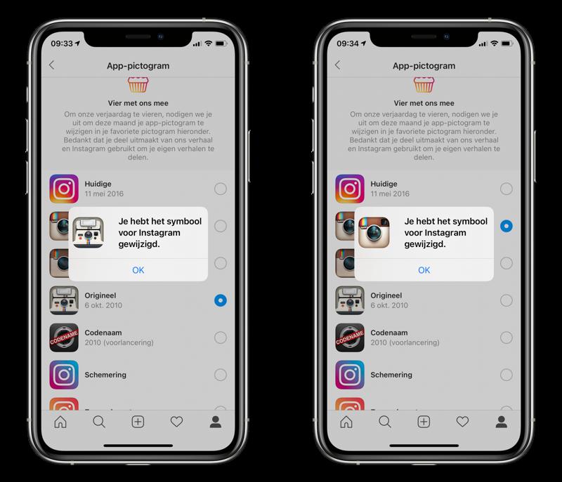 Retro Instagram appicoontje instellen.