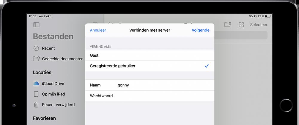 Netwerkopslag iPadOS