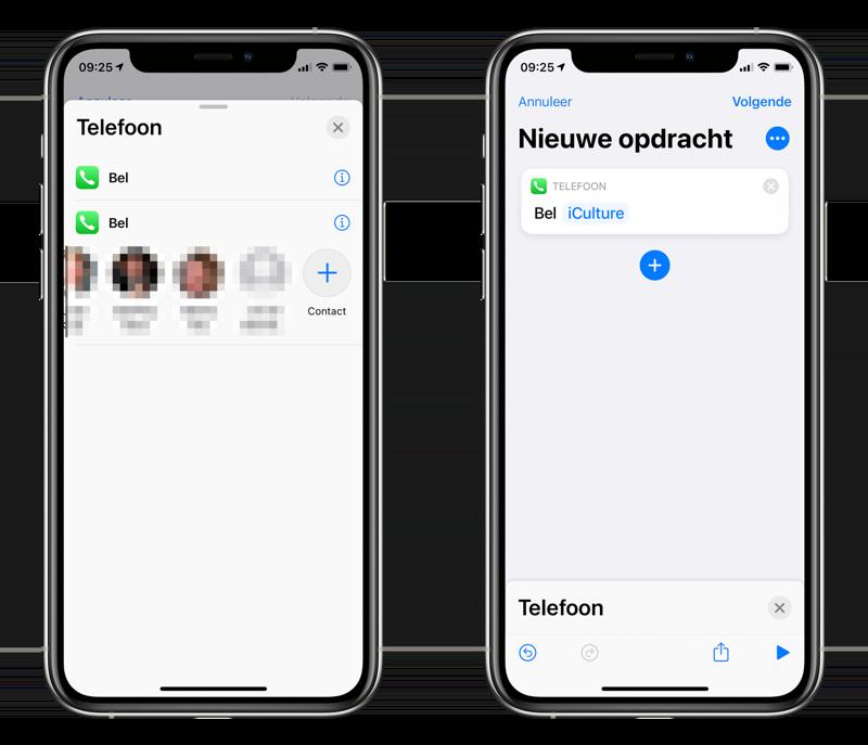 Bel Shortcut in Opdrachten-app.