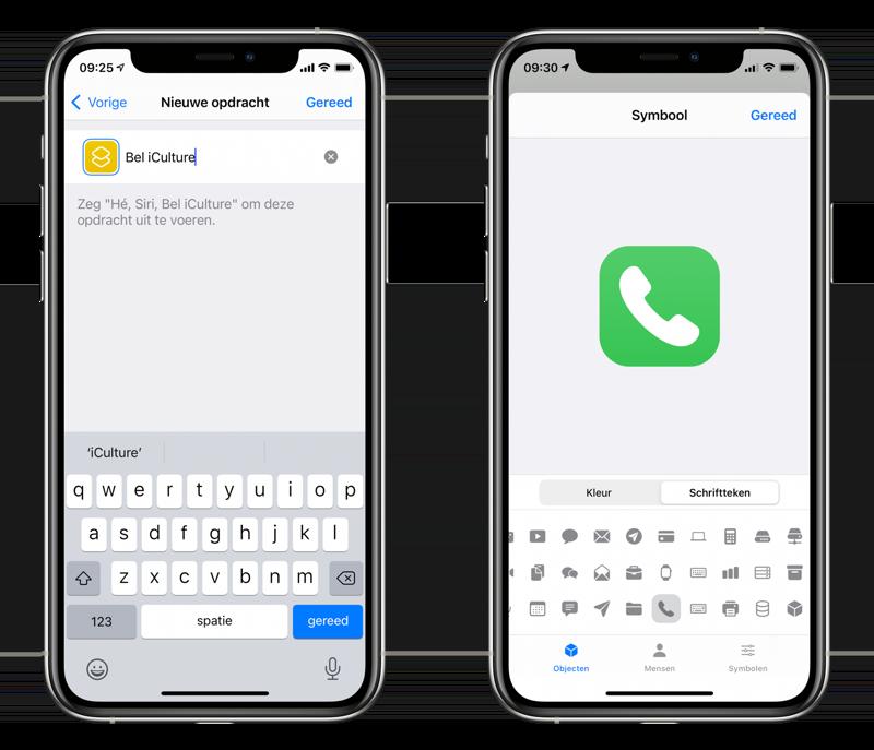 Opdrachten-app: kleur en icoontje voor Bel Shortcut.