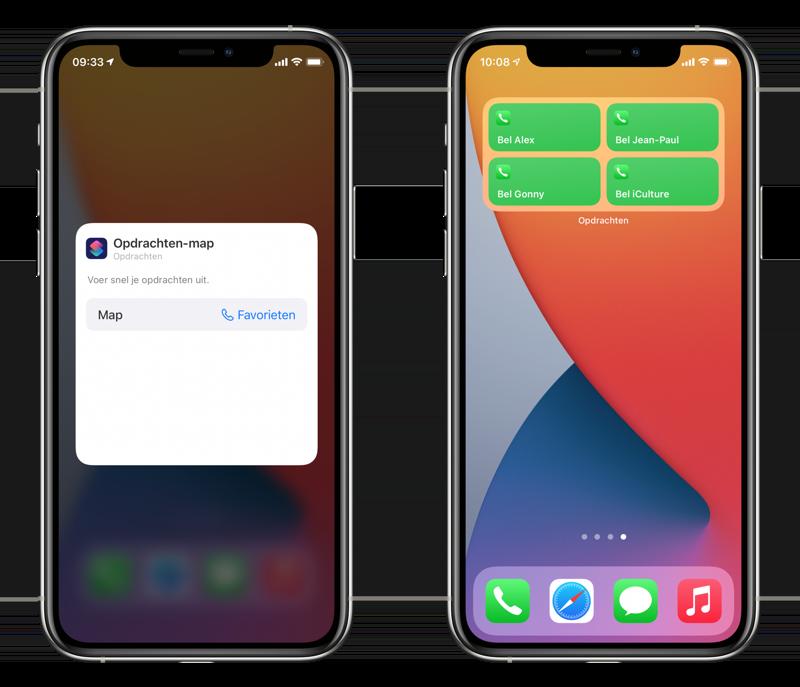 Telefoon-widget maken met favoriete contacten via Opdrachten-app.