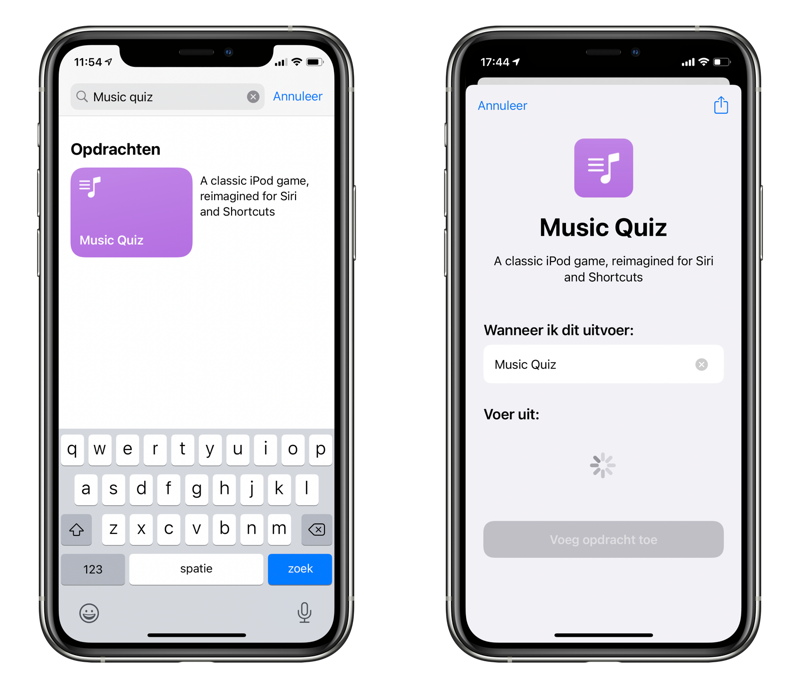 Music Quiz in Opdrachten-app.