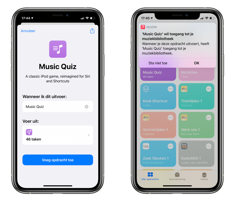 Music Quiz via Siri Shortcuts.