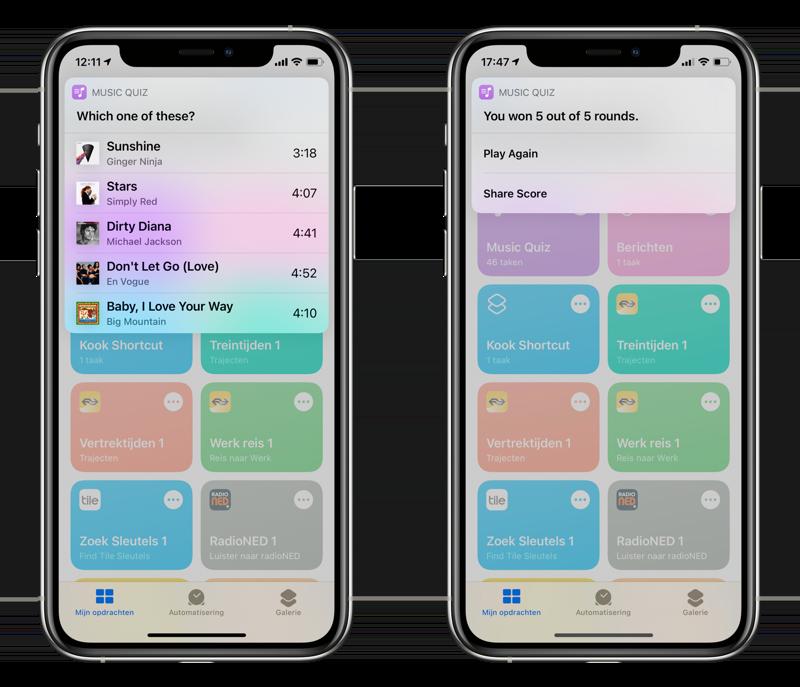 Music Quiz spelen in Opdrachten-app.