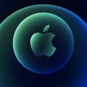 iPhone 12-event uitnodiging in blauw en groen.